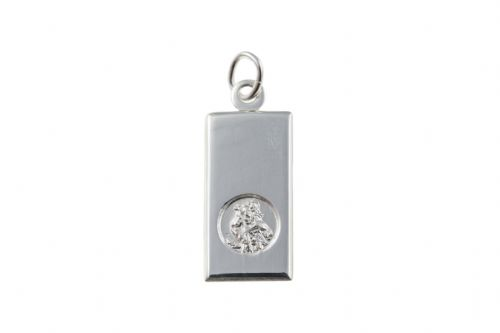 Sterling Silver Rectangular St. Christopher Including Chain BU0178